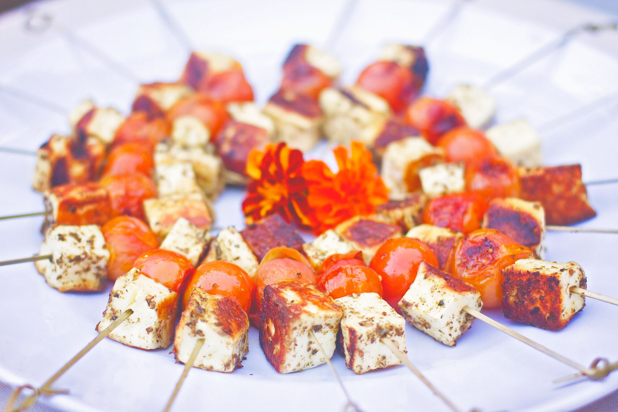 Halloumi and cherry tomato skewers